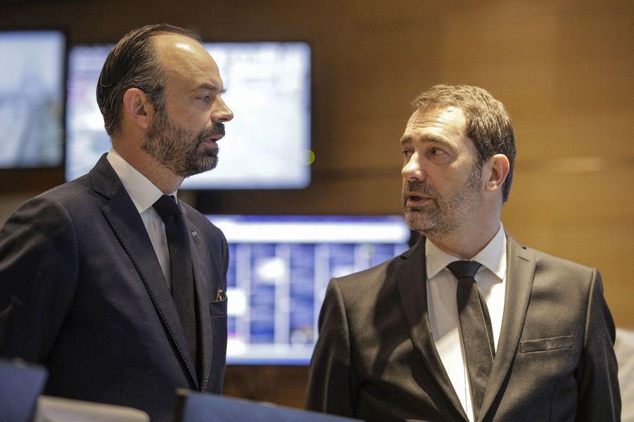 Edouard Philippe et Christophe Castaner, àlaDirection de l'Ordre Public et de la Circulation, samedi matin.