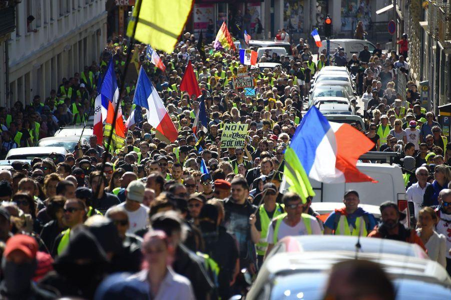 Manifestation des gilets jaunes à Montpellier, samedi.