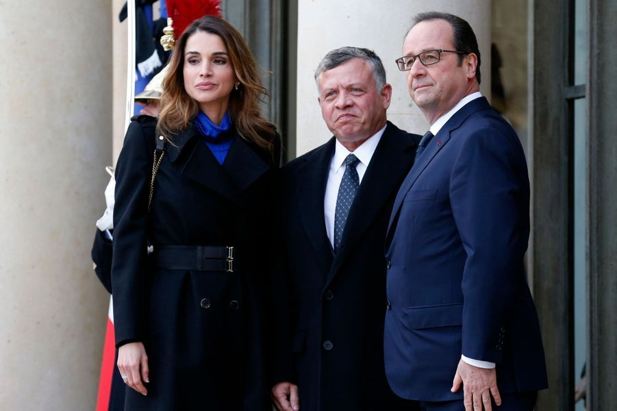 Le roi Abdallah II et la reine Rania de Jordanie et François Hollande