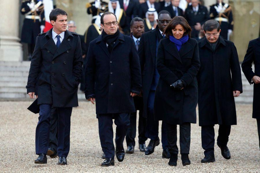 Manuel Valls, François Hollande et Anne Hidalgo