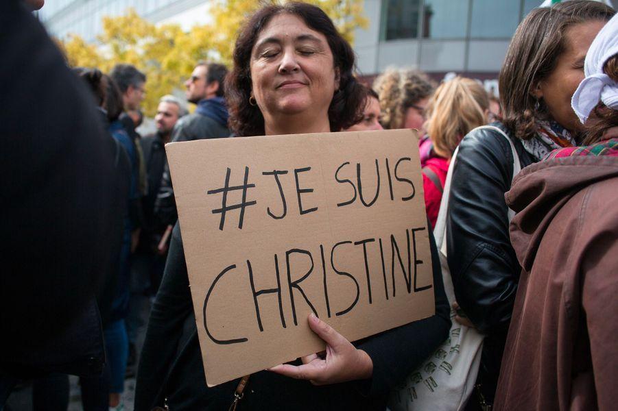 Manifestation jeudi à Bobigny près des locaux de l'inspection académique de Seine-Saint-Denis.