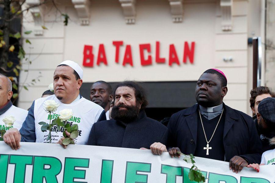 L'imam Chalghoumi, Marek Halter et un représentant de la religion catholique le 13 novembre 2017 à Paris