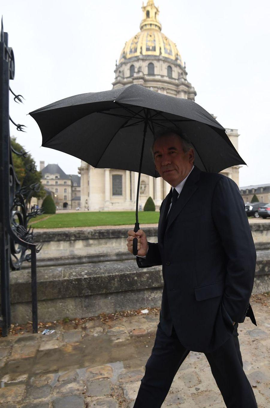 François Bayrouàla cérémonie d'hommage aux victimes du terrorisme aux Invalides, le 19 septembre 2016.