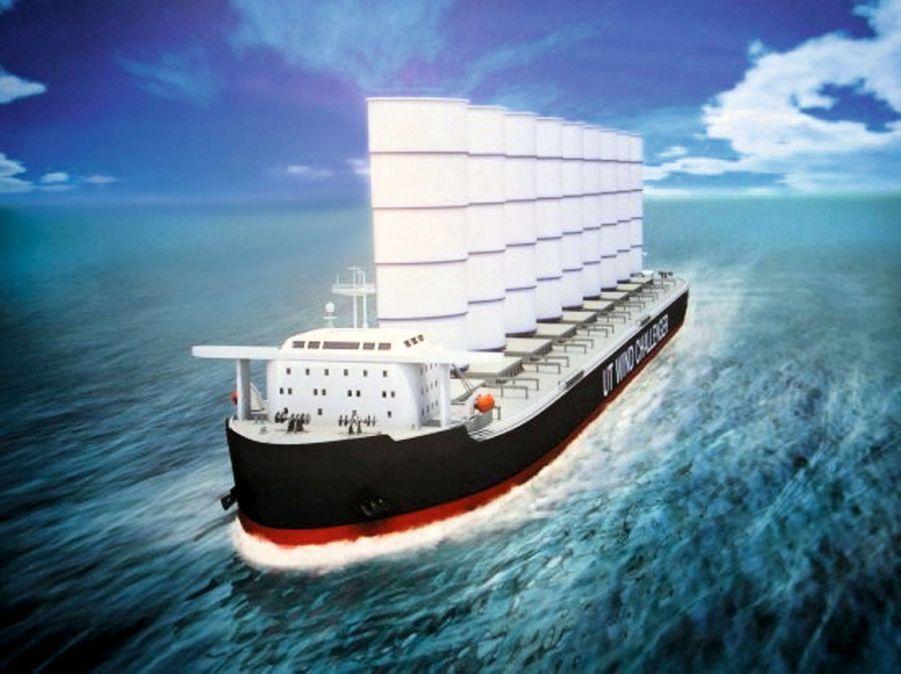 LE JAPONAIS « UT WIND CHALLENGER » fonctionnerait avec des ailes rigides de 50 mètres de haut emboîtées les unes aux autres.