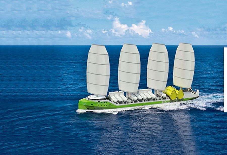 LE HOLLANDAIS « ECOLINER » aurait quatre voiles souples et disposerait aussi d'une propulsion mixte avec des moteurs peu polluants.
