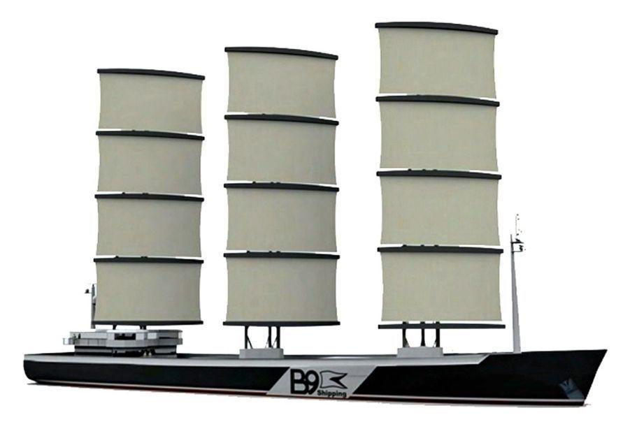 LE BATEAU DU BRITANNIQUE B9 ENERGY aurait trois voiles souples orientées par des mâts qui tourneraient sur eux-mêmes. Il fonctionnerait à 60% à la voile et à 40% au moteur