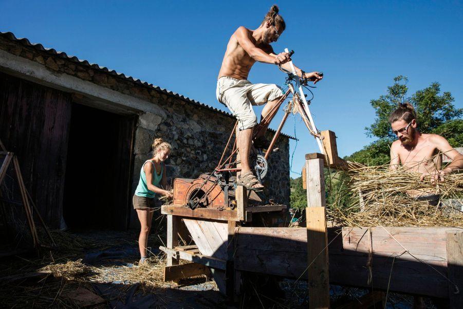 Michael pédale pour battre le blé, avec Suzanne et Edouard.