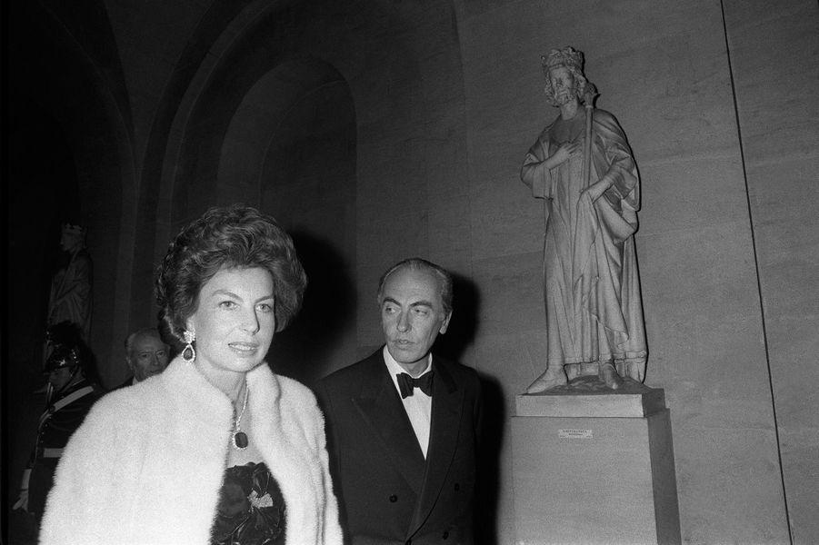 André et Liliane Bettencourt au Château de Versailles le 28 novembre 1973.