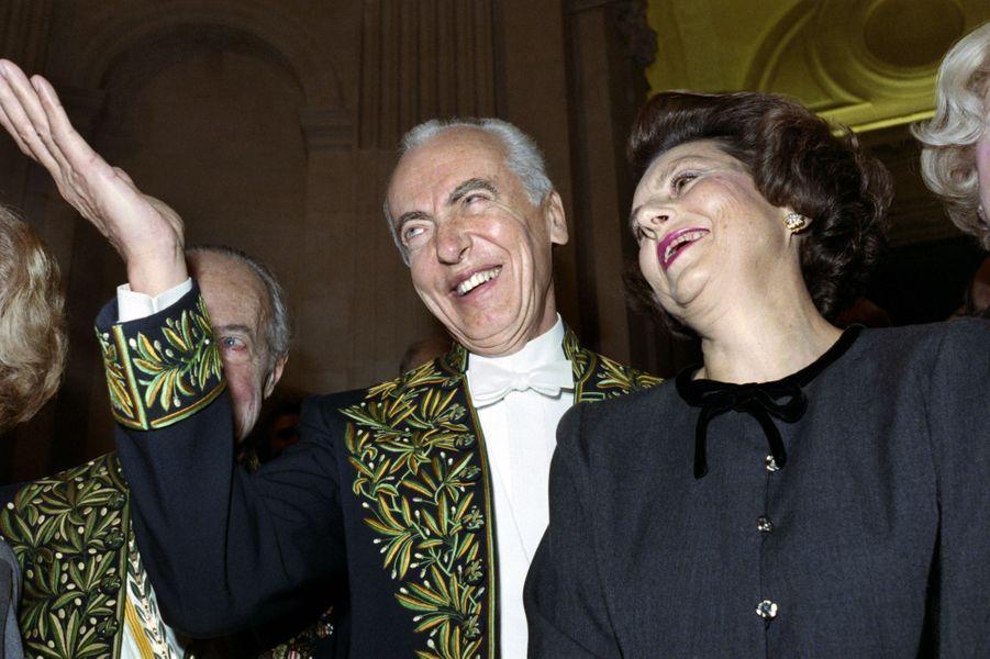 Liliane et André Bettencourt le 30 novembre 1988 à l'Académie des Beaux-Arts.