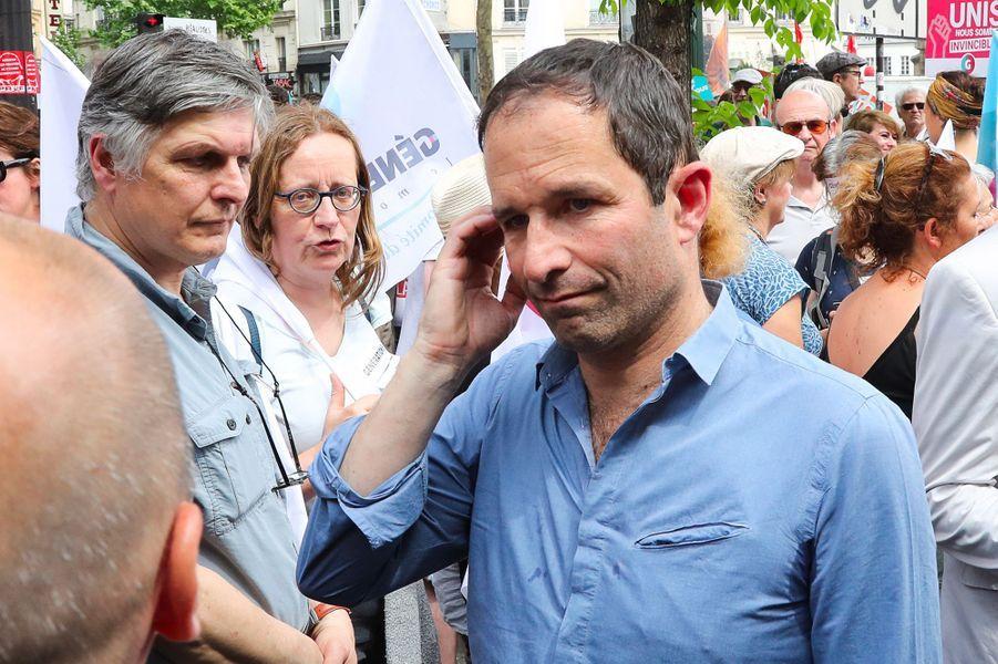"""Benoît Hamon, lors de la manifestation parisienne de la """"maréepopulaire"""", le 26 mai 2018."""