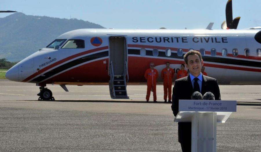 Nicolas Sarkozy a prononcé son discours sur le tarmac de l'aéroport Aimé Césaire de Fort-de-France.
