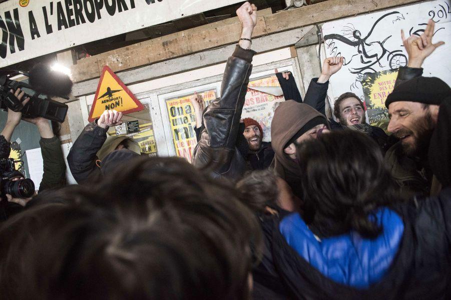 Joie immense des opposants à Nantes, le 17 janvier 2018
