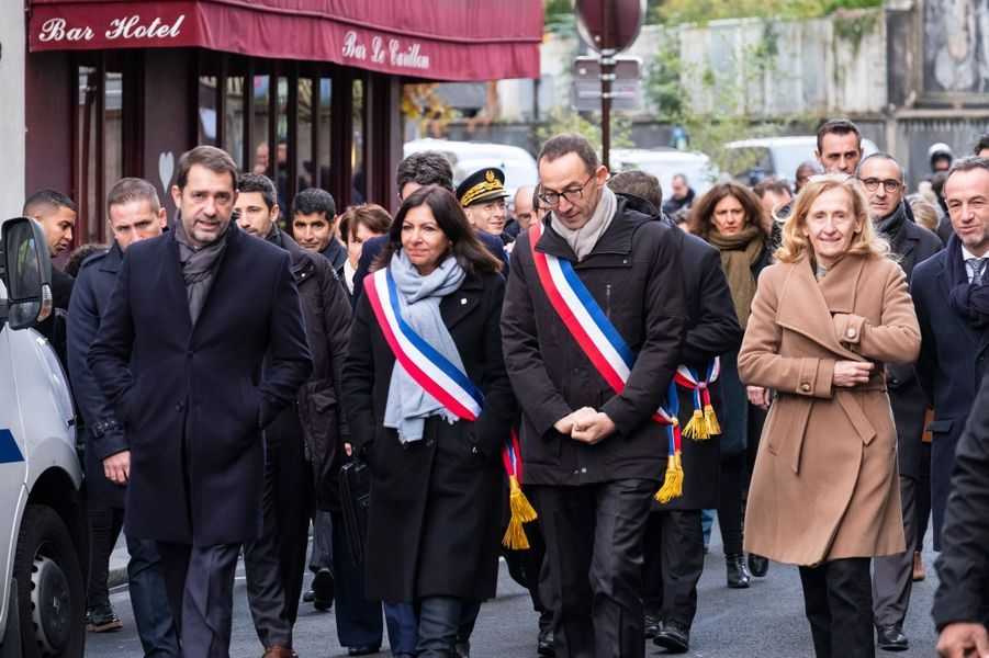 Christophe Castaner, Anne Hidalgo et Nicole Belloubet lors des commémorations mercredi.