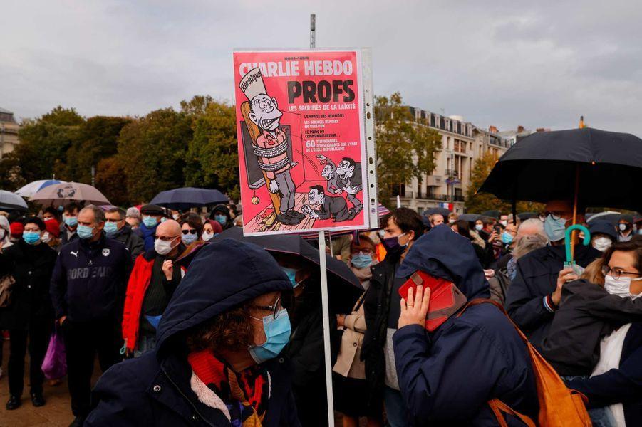 Rassemblement en hommage à Samuel Paty à Paris, le 18 octobre 2020.