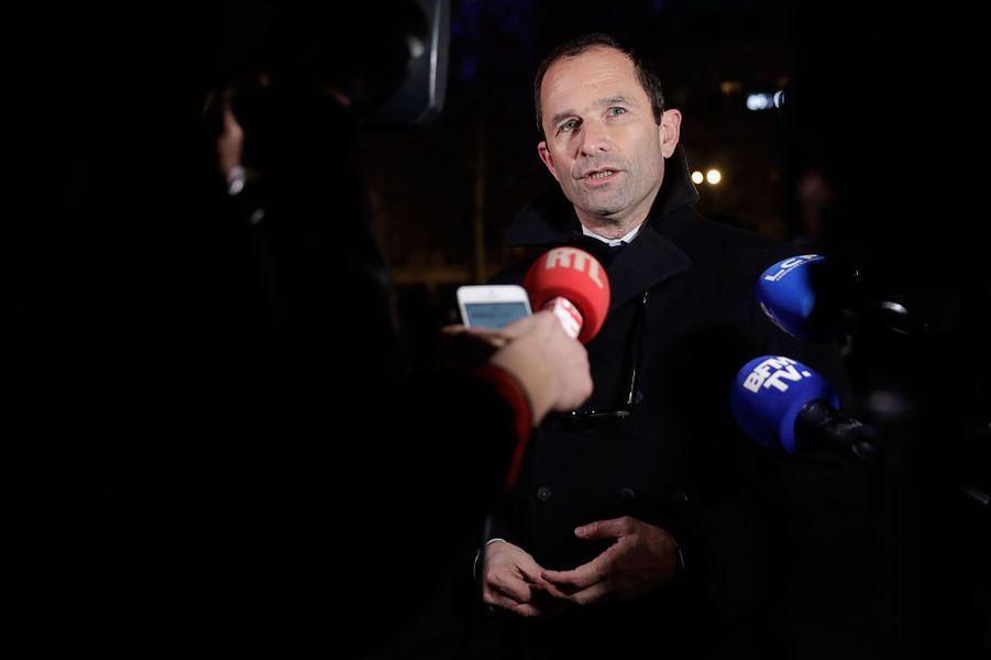 Benoit Hamon au rassemblement contre l'antisémitisme à Paris, le 19 février 2018.