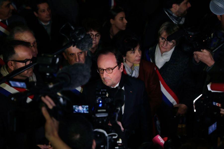 François Hollande au rassemblement contre l'antisémitisme à Paris, le 19 février 2018.
