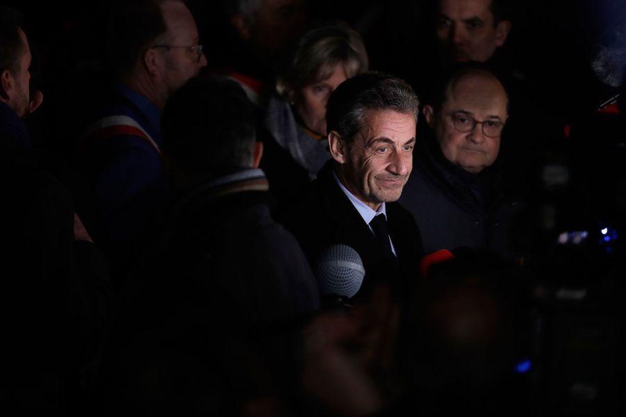Nicolas Sarkozy au rassemblement contre l'antisémitisme à Paris, le 19 février 2018.