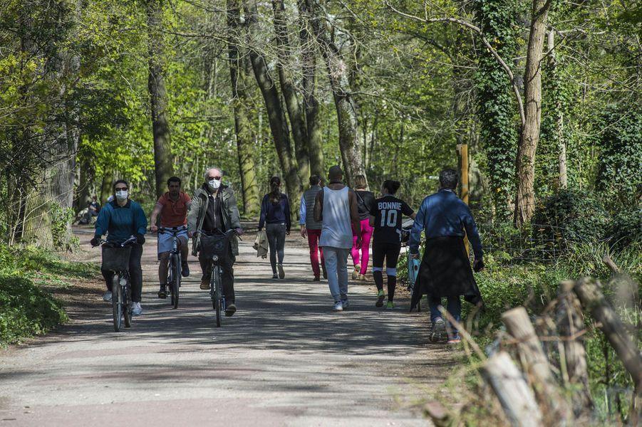 Des Franciliens en balade au bois de Vincennes, dimanche.