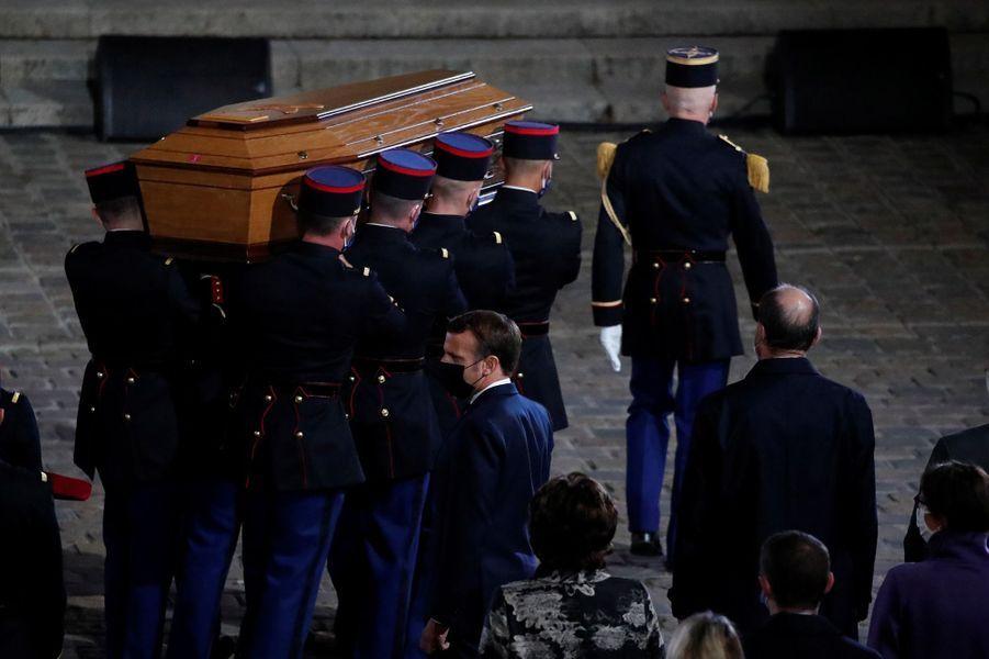 Photo prise lors de l'hommage à Samuel Paty rendu en la Cour de la Sorbonne, à Paris.