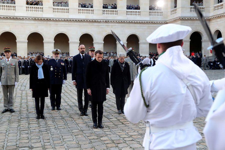 Emmanuel Macron, Edouard Philippe et Florence Parly lors de l'hommage aux 13 soldats tués au Mali