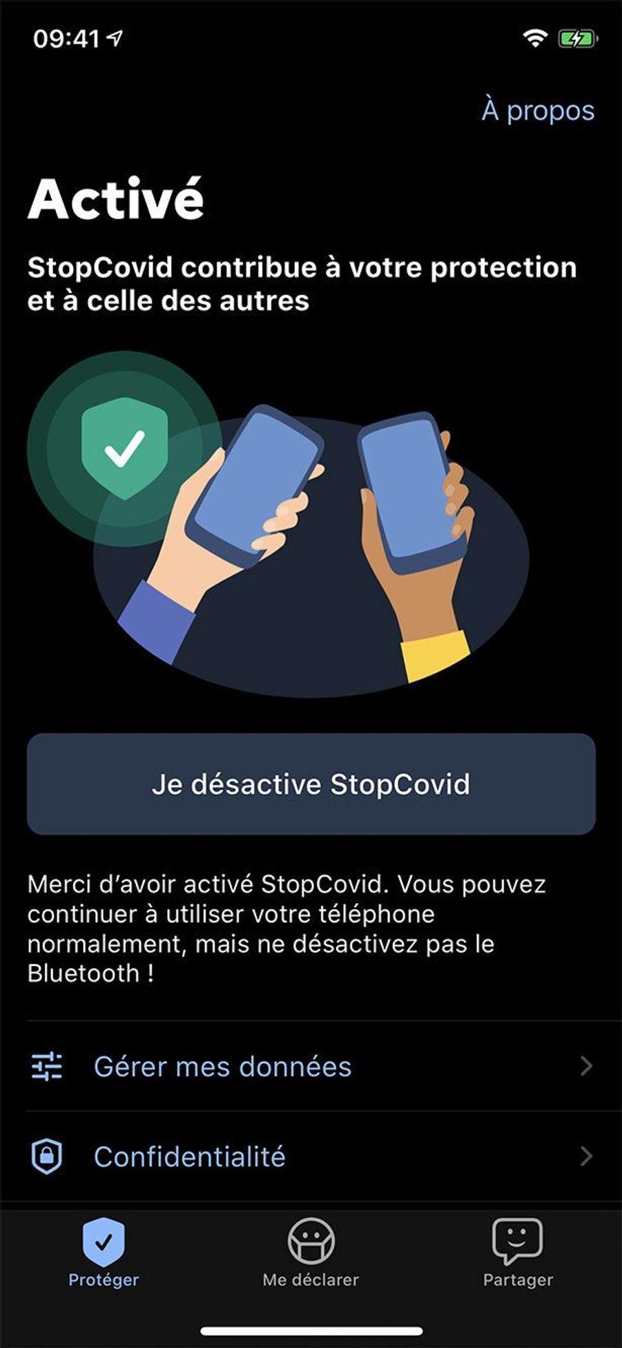 Capture d'écran de l'application StopCovid, diffusée par le gouvernement.