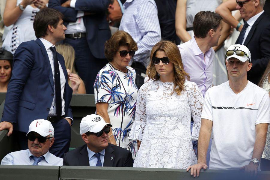 Mirka, l'épouse de Roger Federer, à Wimbledon, le 16 juillet 2017.