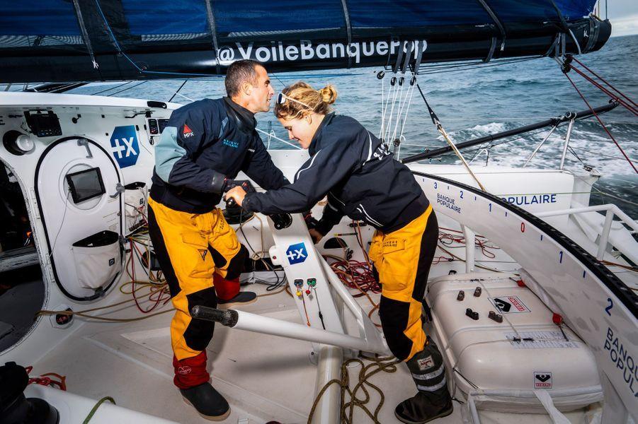 Clarisse Cremer change de catégorie, elle embarque à bord de Banque Populaire X avec Armel Le Cleach' pour la Transat Jacques-Vabre.