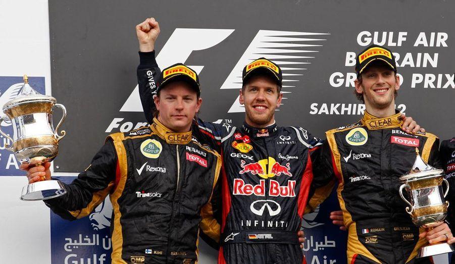 Sebastian Vettel a remporté ce dimanche le Grand Prix de Bahrein à Sakhir. L'Allemand, parti de la pole position, a devancé les Lotus de Kimi Räikkönen et de Romain Grosjean, auteurs d'une superbe course. Le Français signe son premier podium en F1. Cette quatrième manche du championnat a donc offert un quatrième vainqueur différent, confortant l'homogénéité du plateau 2012.