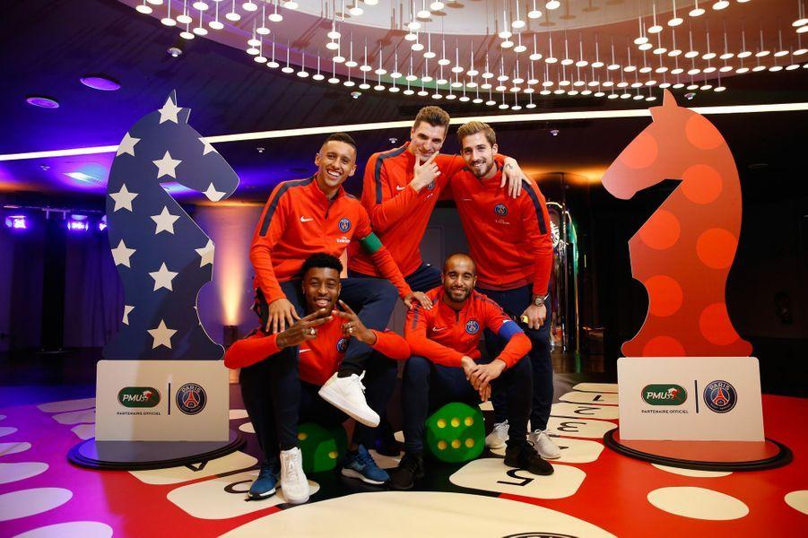 Les cinq joueurs du PSG présents mardi au Parc des Princes : Marquinhos, Thomas Meunier, Lucas Moura, Presnel Kimpembe et Kevin Trapp.
