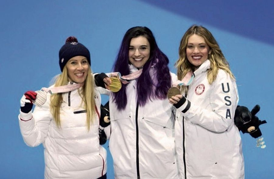 L'or pour Brenna Huckaby, l'argent pour la Française Cécile Hernandez et le bronze pour l'Américaine Amy Purdy aux Jeux de Pyeongchang, en mars 2018.
