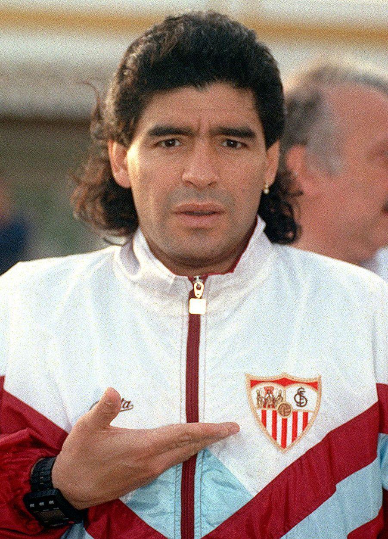 Photo prise lorsque Diego Maradona jouait au FC Séville en 1992.