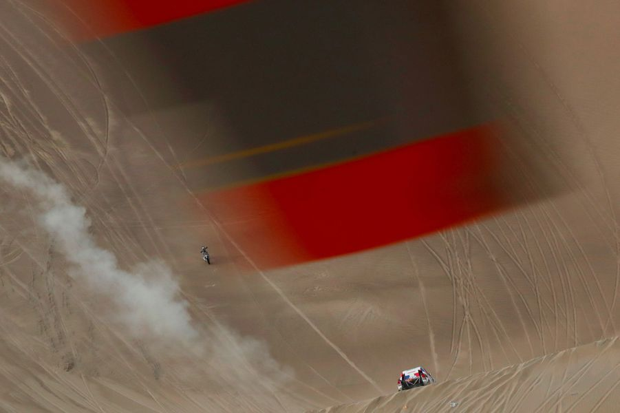 Vue de concurrents depuis l'hélicoptère.