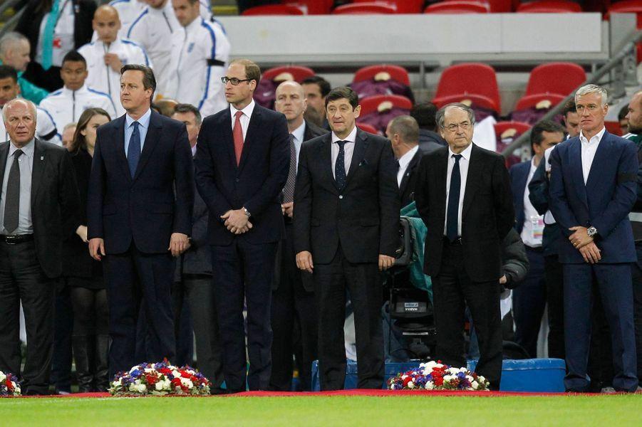 Le prince William, David Cameron et Didier Deschamps