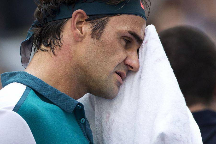 Roger Federer lors de son match contre Leonardo Mayer à l'US Open 2015 le 1er septembre