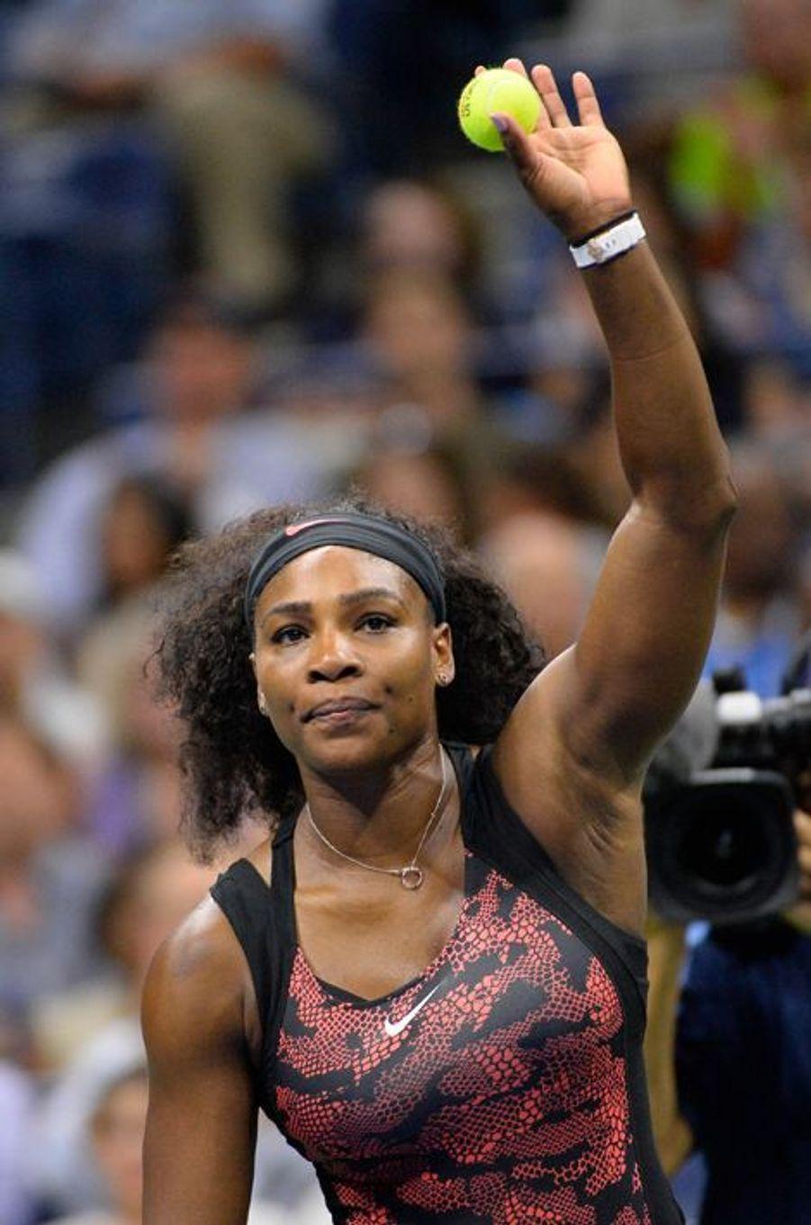 Serena Williams lors de son premier match de l'US Open 2015 le 31 août
