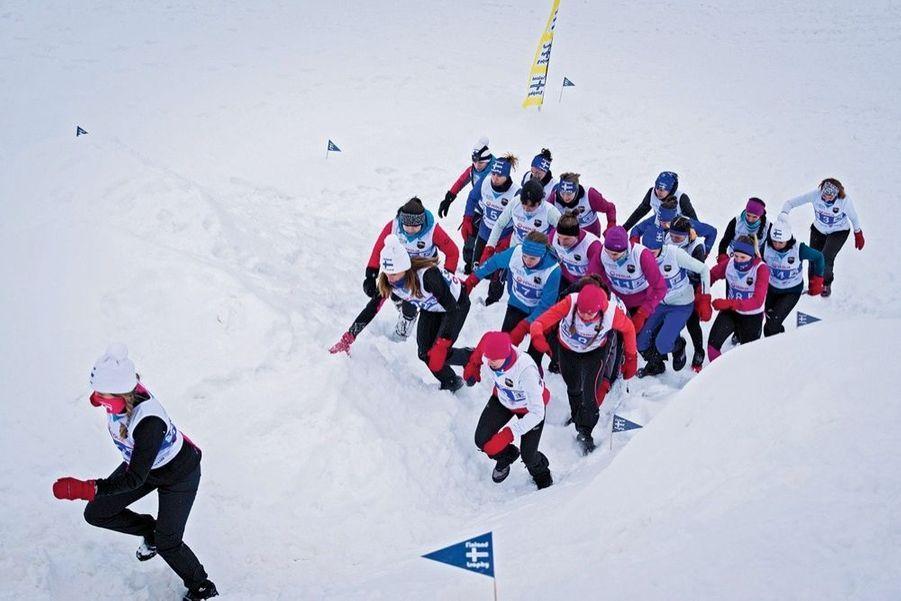 J3, premier obstacle du parcours : franchir le mur de neige.
