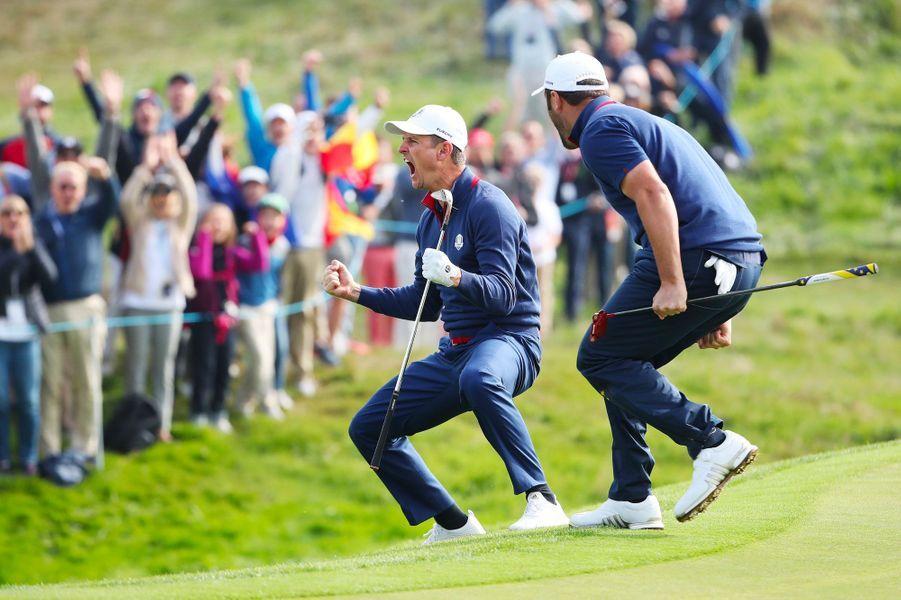 Explosion de joie de l'Anglais Justin Rose, vendredi, au Golf National.