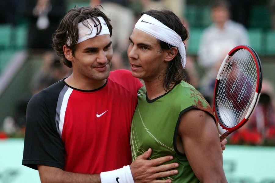 Premier victoire de Rafael Nadal en finale de Roland-Garros face à Roger Federer en 2005.
