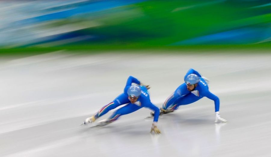 L'équipe italienne de patinage de vitesse s'entraine en vue des XXIe Jeux Olympiques d'Hiver, qui se dérouleront à Vancouver du 12 au 28 février 2010.