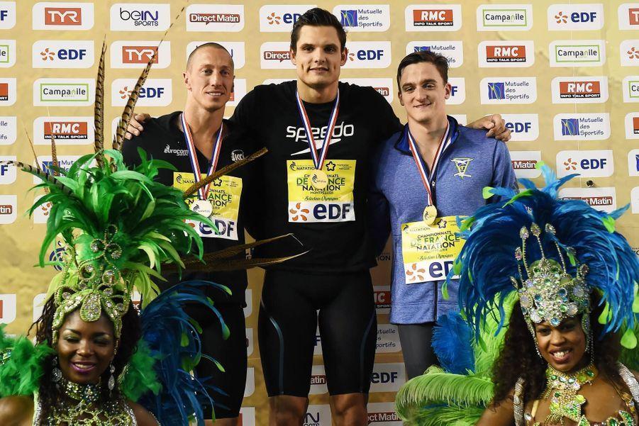 Le podium: Fréderick Bousquet, Florent Manaudou et Clément Mignon