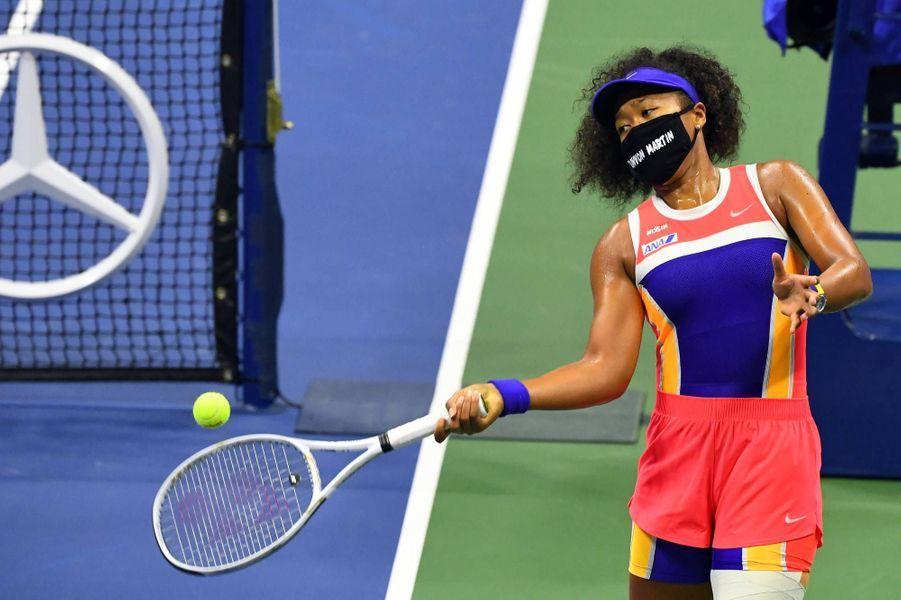 Naomi Osaka portant un masque rendant hommage à Trayvon Martin, le 6 septembre 2020.