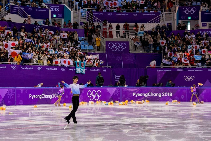 Yuzuru Hanyu sur la glace de Pyeongchang.