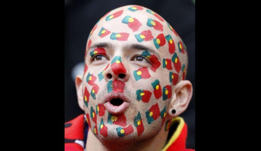 Un supporter Portugais a peint de multiples drapeaux aux couleurs du pays sur son visage. Le Portugal jouait son premier match pour la coupe du monde 2010 mardi face à la Côte d'Ivoire dans le stade Nelson Mandela Bay près du port Elizabeth en Afrique du sud.