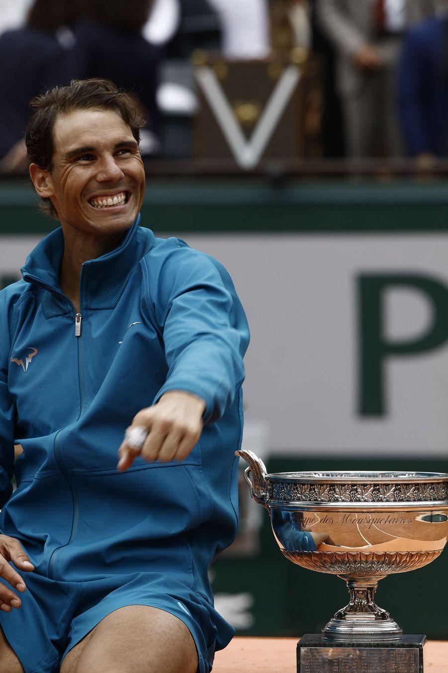 Rafael Nadal lors de son triomphe à Roland-Garros en 2018.