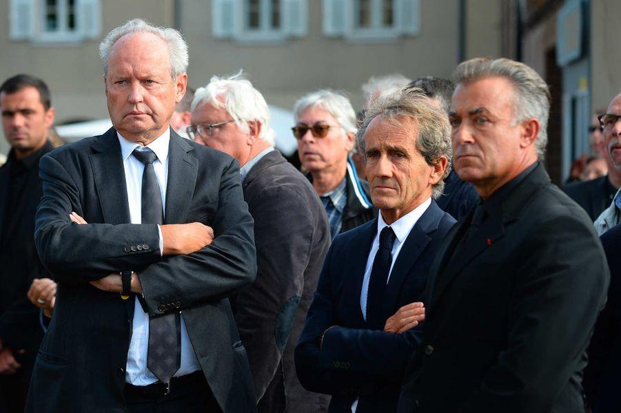 Jérôme Stoll, Alain Prost et Jean Alesiaux obsèques d'Anthoine Hubert à Chartres, le 10 septembre 2019.