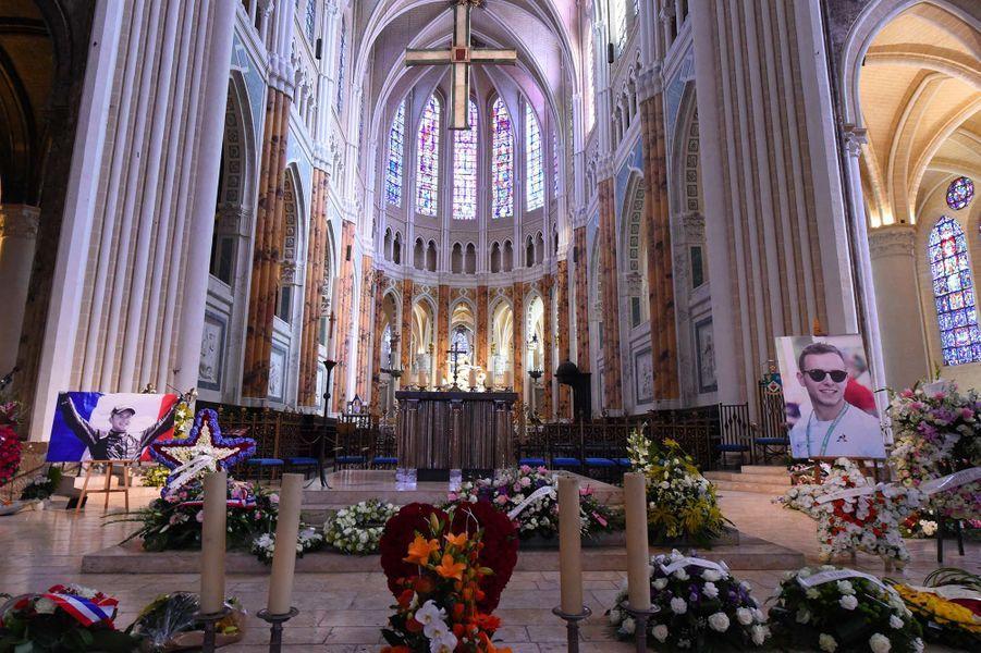 Lors desobsèques d'Anthoine Hubert à Chartres le 10 septembre 2019