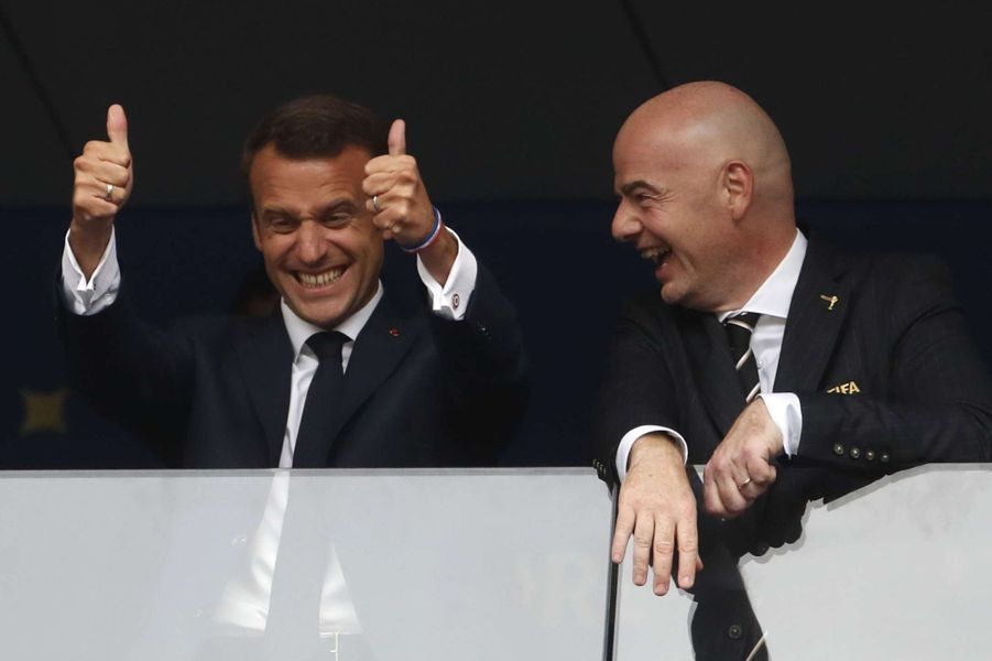 La joie d'Emmanuel Macron lors de France-Croatie