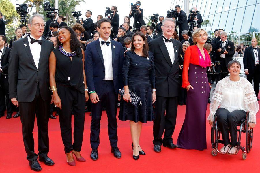 Denis Masseglia,Laura Flessel,Tony Estanguet,Anne Hidalgo, Bernard Lapasset, Valérie Pécresse etEmmanuelle Assman au Festival de Cannes.