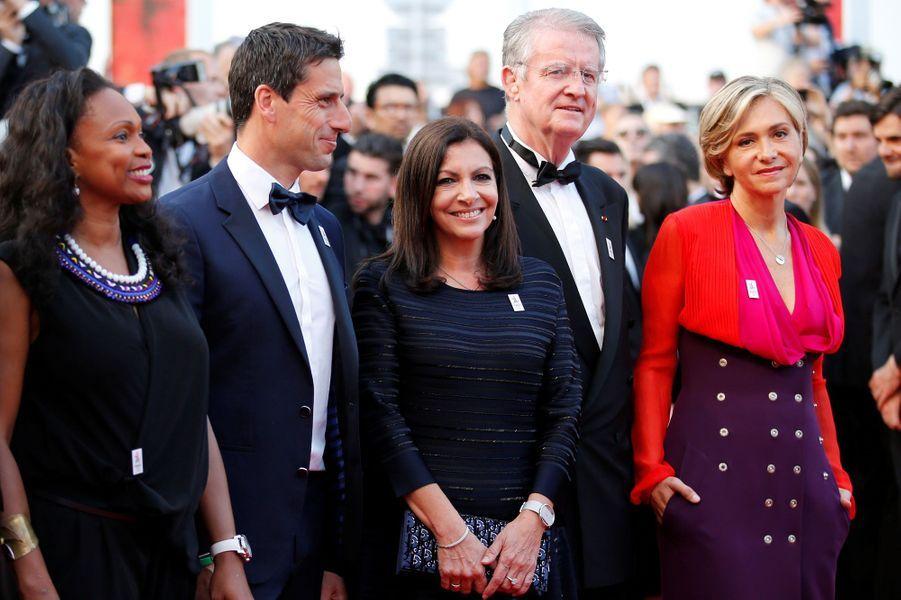 Laura Flessel, Tony Estanguet, Anne Hidalgo, Bernard Lapasset et Valérie Pécresse mercredi soir à Cannes.