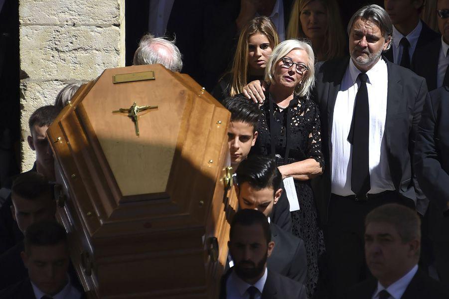 La famille de Louis Nicollin à ses obsèques à Montpellier, le 4 juillet 2017.